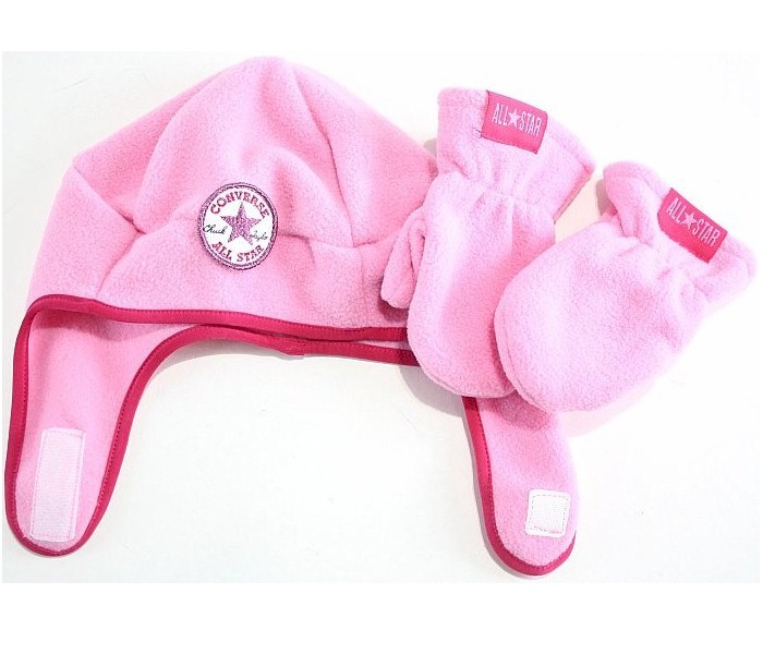 Image of Converse All Star Girl's Fleece Trapper Beanie Hat & Mittens Set - Pink - Toddler Girl's 2/4T