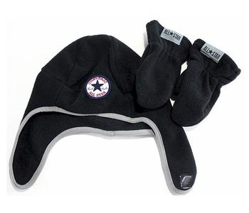 Converse All Star Boy's Fleece Trapper Beanie Hat & Mittens Set  UPC: