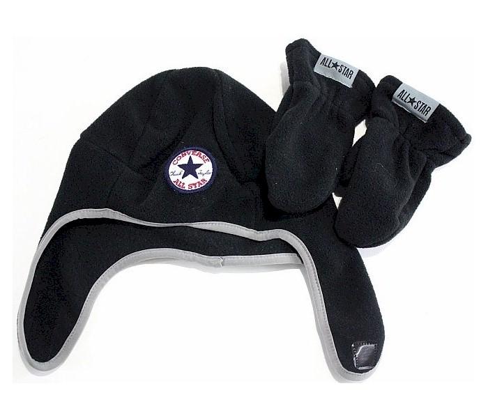 Image of Converse All Star Boy's Fleece Trapper Beanie Hat & Mittens Set - Jet Black - Toddler Boy's 2/4T