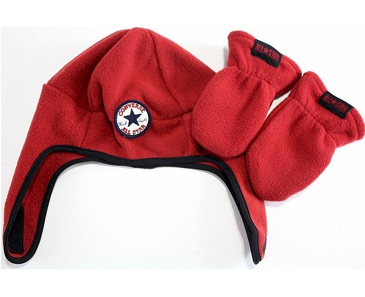Image of Converse All Star Boy's Fleece Trapper Beanie Hat & Mittens Set - Chili Pepper Red - Toddler Boy's 2/4T