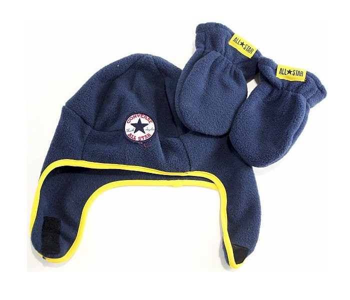 Image of Converse All Star Boy's Fleece Trapper Beanie Hat & Mittens Set - Athletic Navy - Toddler Boy's 2/4T