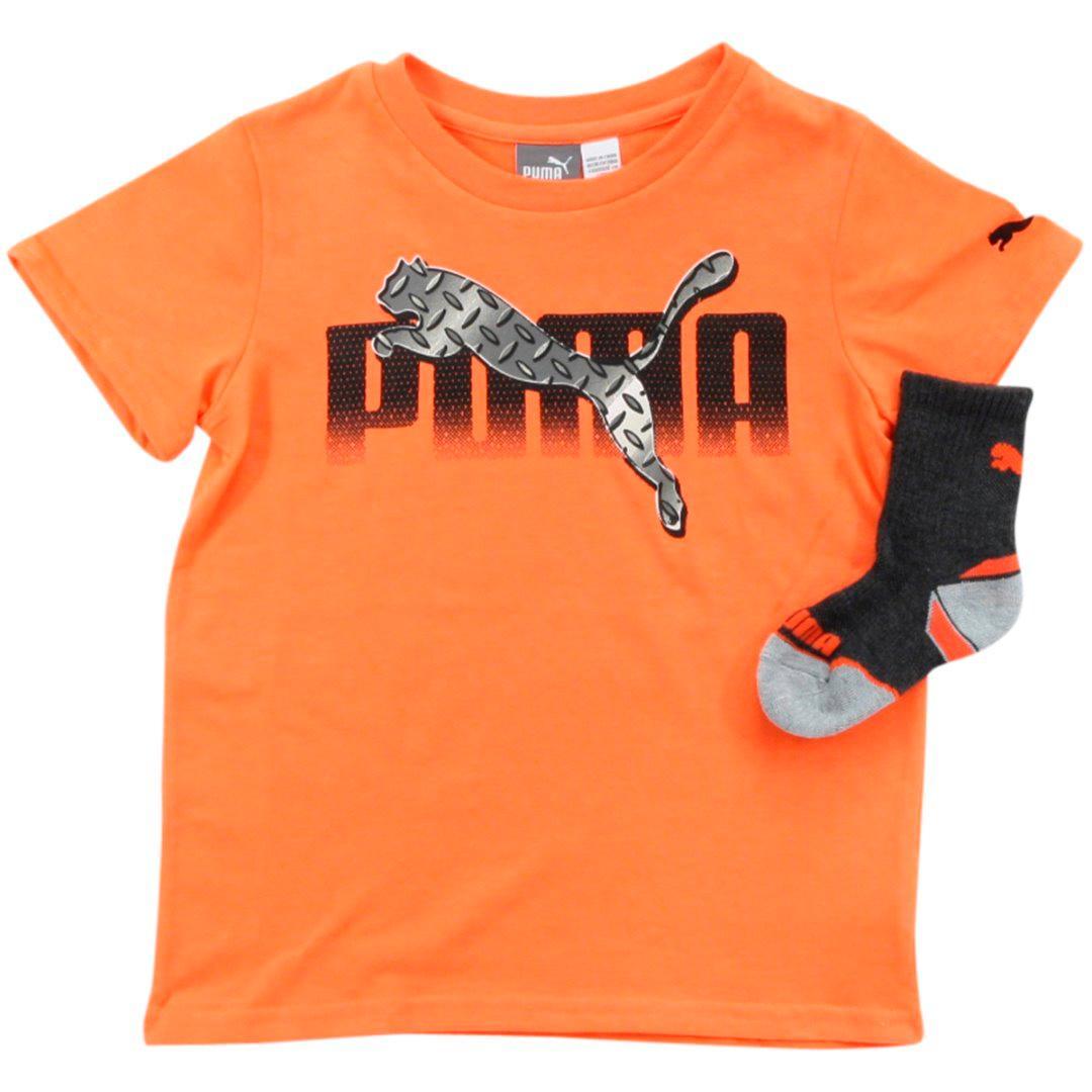 Puma Boy's 2-Piece Gradient Logo Short Sleeve Crew Neck T-Shirt & Sock Set