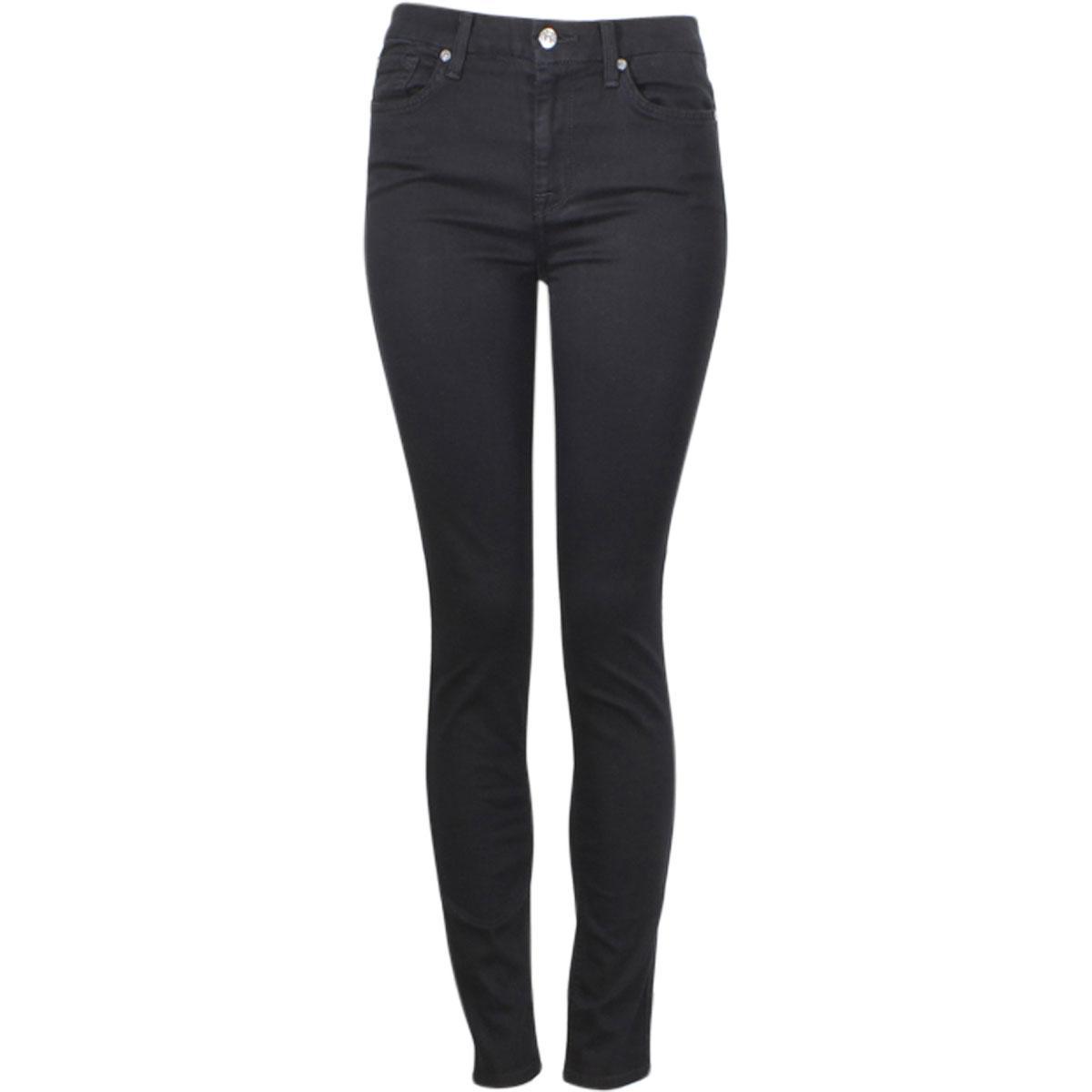 Image of 7 For All Mankind Women's (B)Air Denim The High Waist Skinny Full Length Jeans - Black - 24 (00)