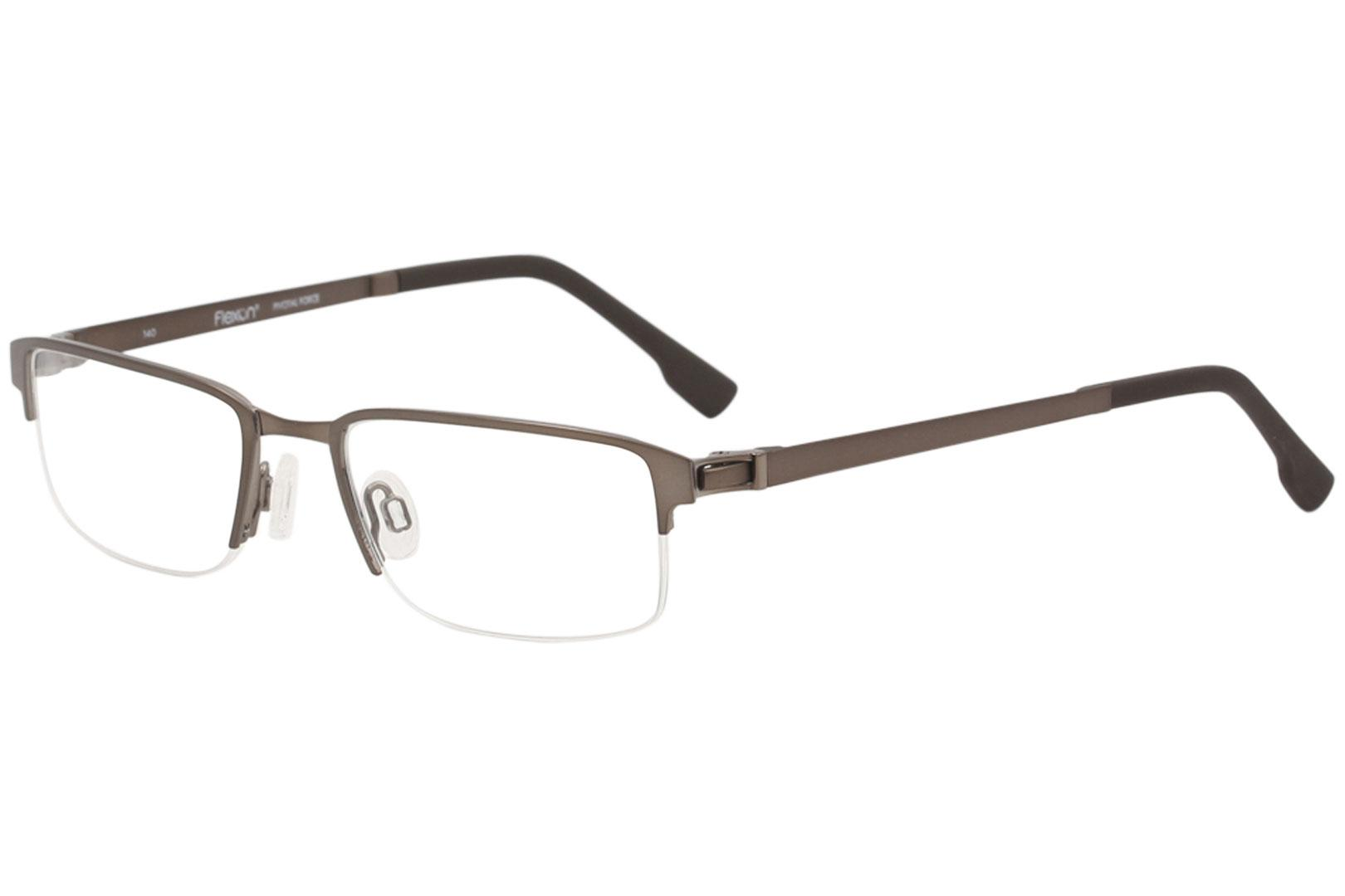 Image of Flexon Eyeglasses E1052 E/1052 210 Brushed Brown Half Rim Optical Frame 53mm - Brushed Brown   210 - Lens 53 Bridge 19 Temple 140mm