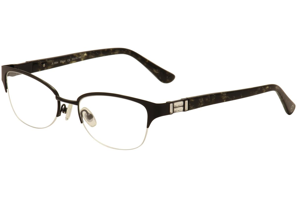 Image of JL By Judith Leiber Women's Eyeglasses JL3004 JL/3004 Half Rim Optical Frame - Black - Lens 52 Bridge 18 Temple 140mm