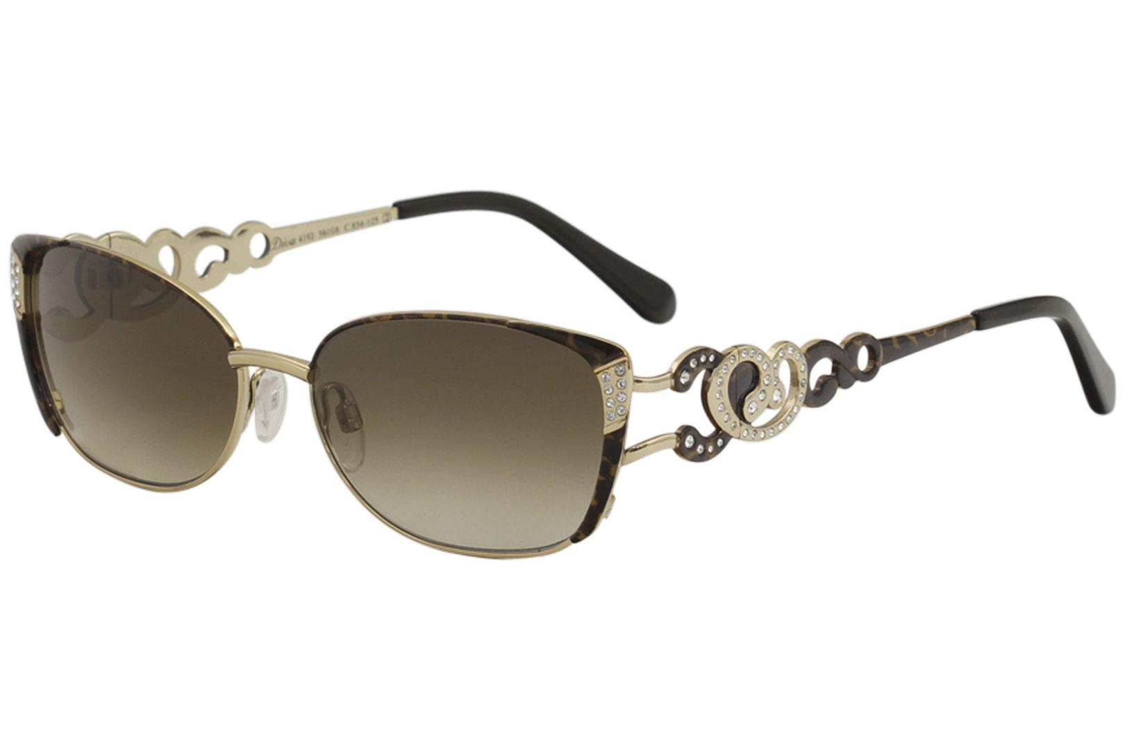 Image of Diva Women's 4192 Fashion Rectangle Sunglasses - Cheetah Gold/Brown Gradient   854 - Lens 56 Bridge 16 Temple 125mm