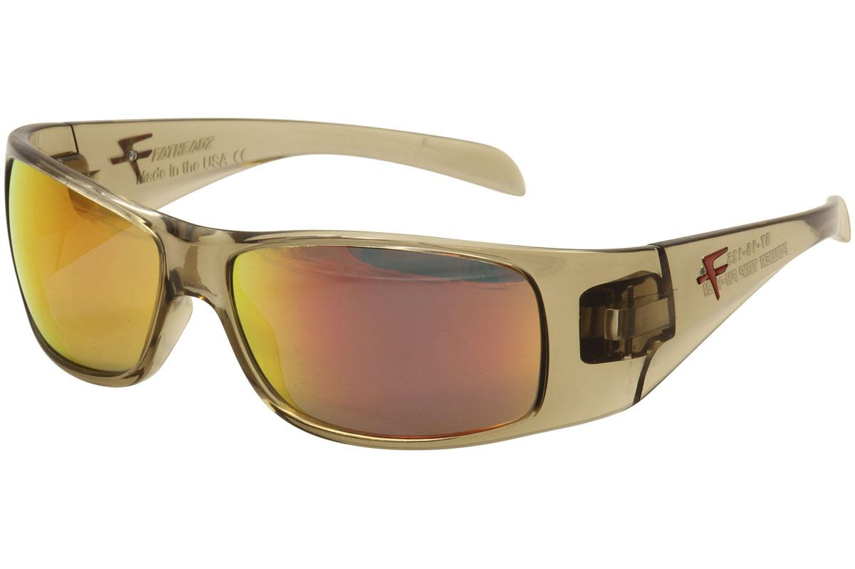 Image of Fatheadz Men's Power Trip FHV121 FHV/121 Fashion Sunglasses - Brown Crystal/Volcanic Red   3RD  - Lens 67 Bridge 16 Temple 125mm