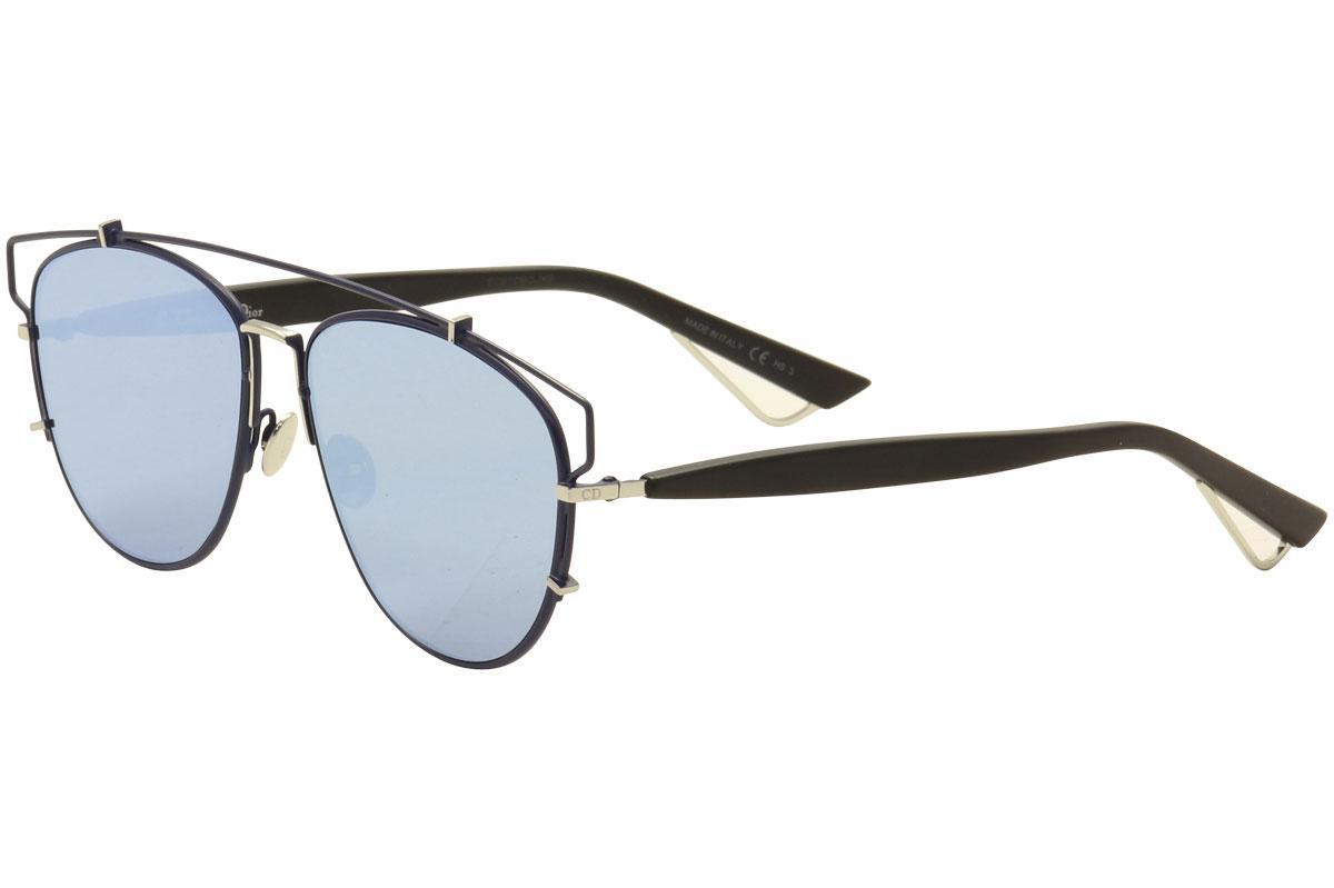 Image of Christian Dior Women's Technologic Aviator Fashion Sunglasses - Navy Black Silver/Blue Silver Mirror   PQU A4  - Lens 57 Bridge 14 Temple 145mm