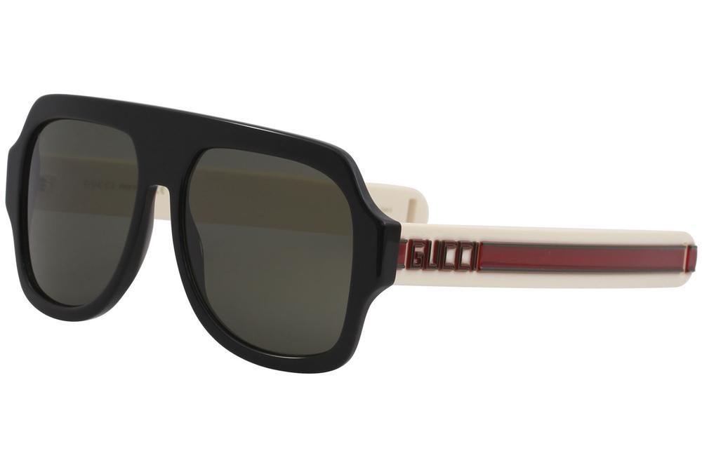 c3897d9eb15 Gucci Men s GG0255S GG 0255 S 001 Black Ivory Red Fashion Pilot ...