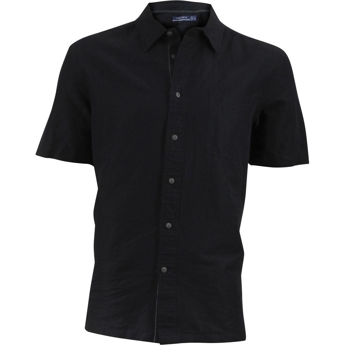 Nautica Mens Key Item Solid Short Sleeve Button Down Shirt
