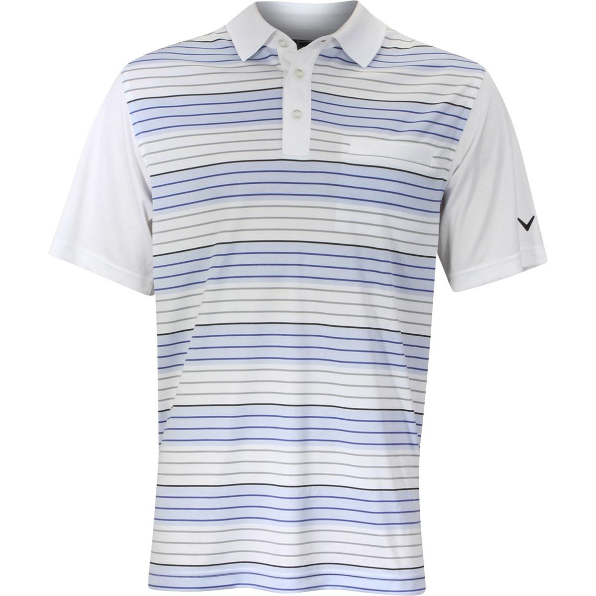Image of Callaway Men's Road Map Striped Golf Polo Short Sleeve Shirt - Bright White - Classic Fit