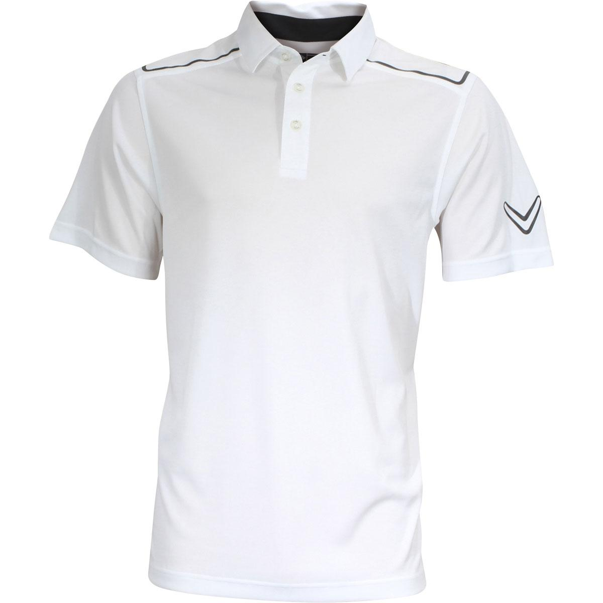 Image of Callaway Men's Solid Blocked Polo Short Sleeve Shirt - Bright White - Classic Fit