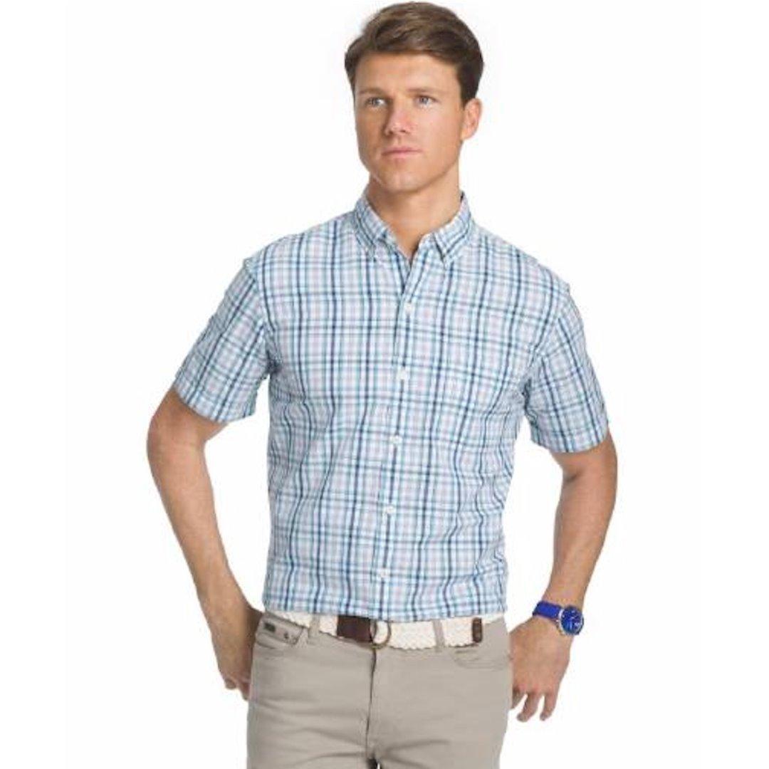 e29a5739ada Izod Saltwater Men s Seaport Poplin Plaid Short Sleeve Button Down Shirt
