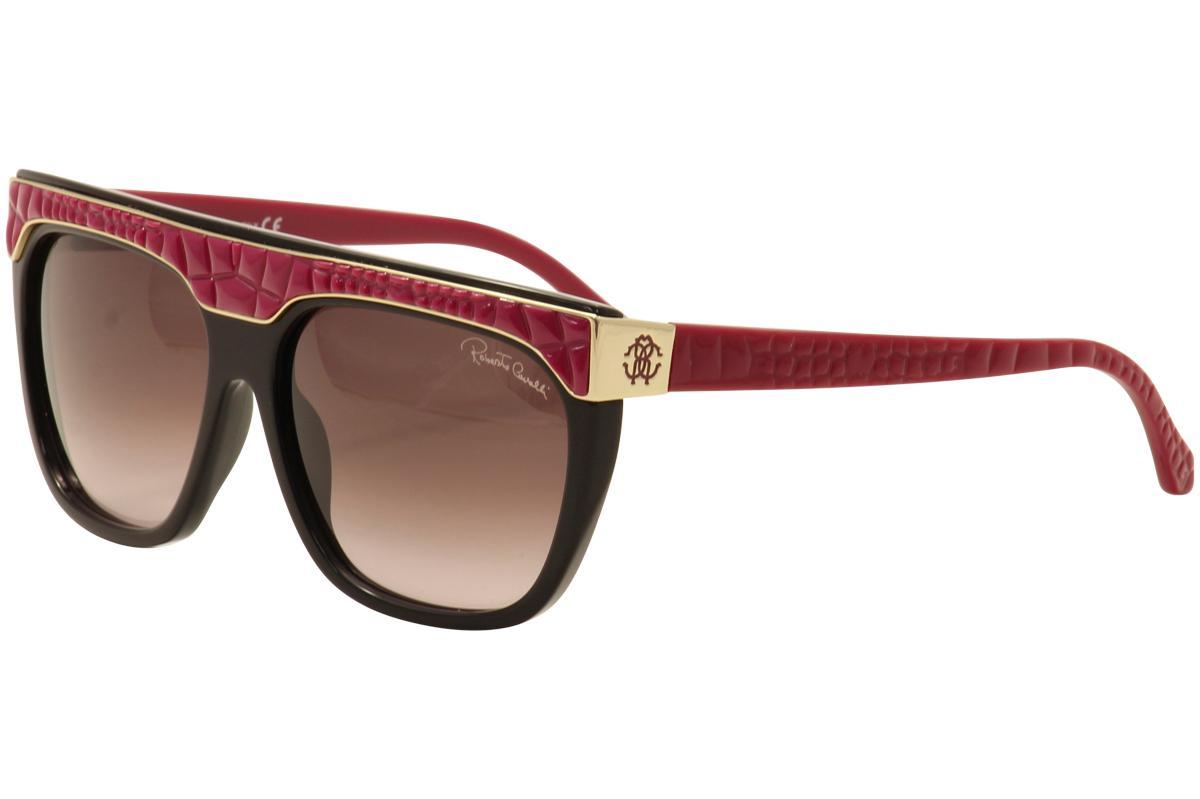 Image of Roberto Cavalli Women's Albireo 800S 800/S Fashion Sunglasses - Black Burgundy Gold/Brown Gradient  05T - Lens 60 Bridge 15 Temple 135mm