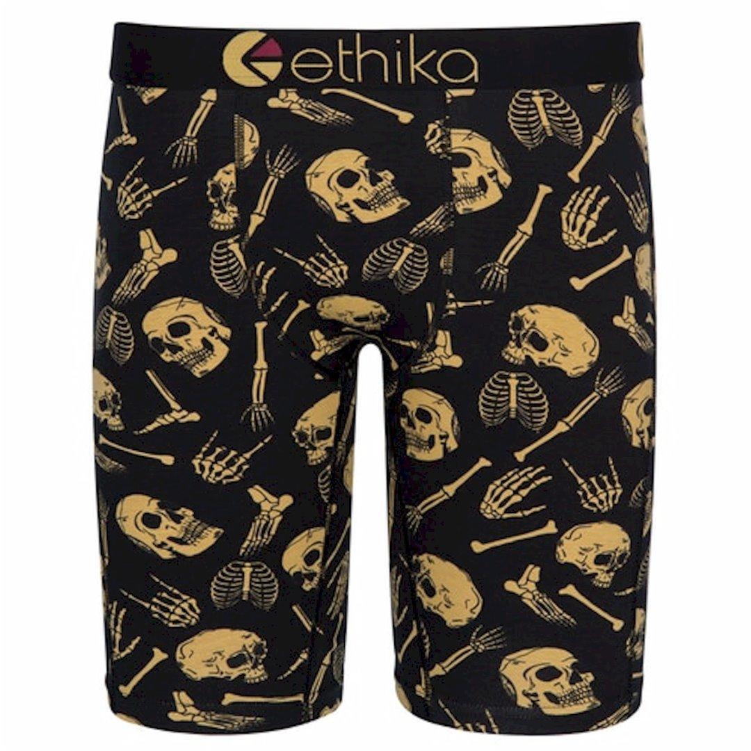 Image of Ethika Men's The Staple Fit Bones N Bones Long Boxer Briefs Underwear - Black - Small