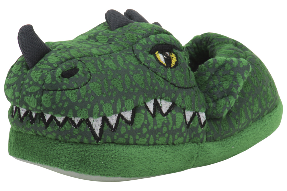 Image of Stride Rite Toddler/Little Boy's Green Lighted Dragon Light Up Slippers Shoes - Green - 7/8 M US Toddler