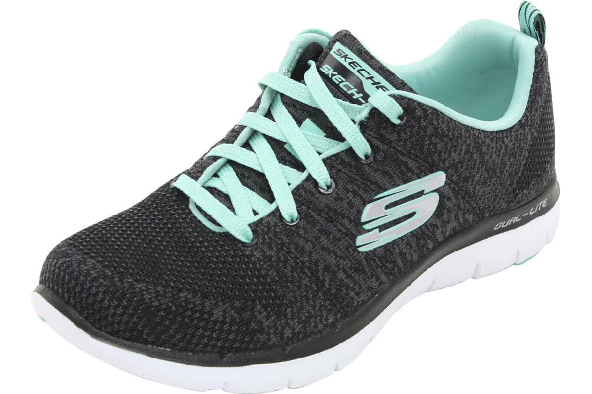 skechers memory foam black and pink