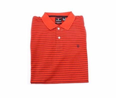 Image of Victorinox Men's Short Sleeve Patron Striped Polo Shirt - Orange - Extra Large