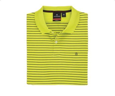Image of Victorinox Men's Short Sleeve Patron Striped Polo Shirt - Green - Medium