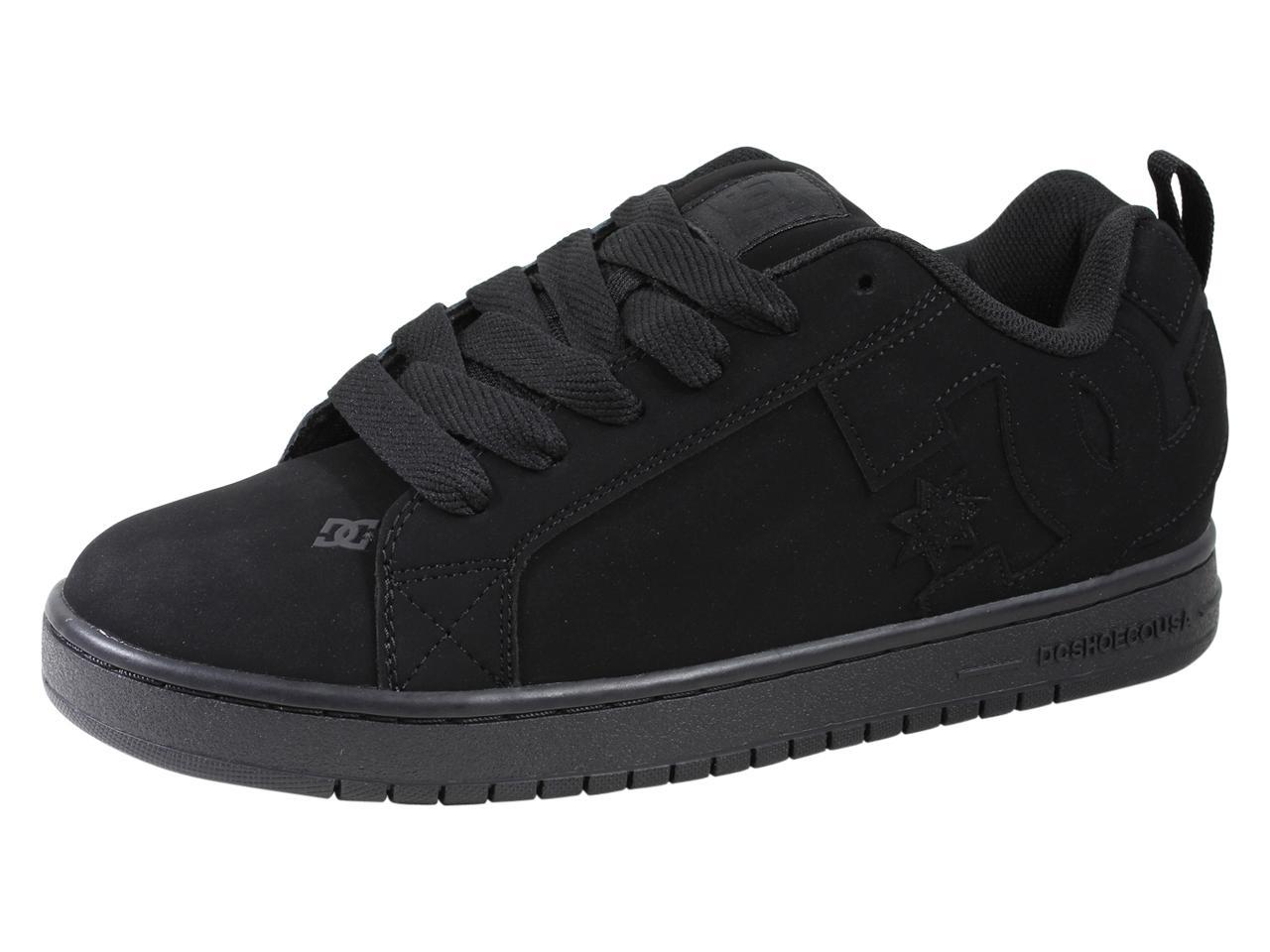 Image of DC Men's Court Graffik Skateboarding Sneakers Shoes - Black/Black/Black Leather - 9 D(M) US
