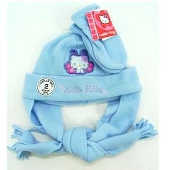 Hello Kitty Toddler Girls Winter Fleece Hat & Mitten Set Sz. 2-4