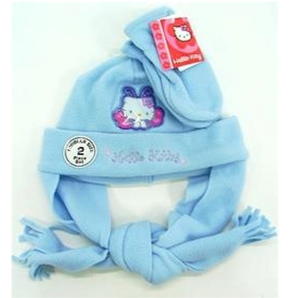 Image of Hello Kitty Toddler Girls Winter Fleece Hat & Mitten Set Sz. 2 4 - Blue - 2 4T