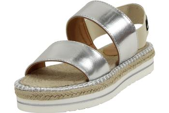 Love Moschino Women's Metallic Silver Slip-On Espadrilles Sandals Shoes UPC: