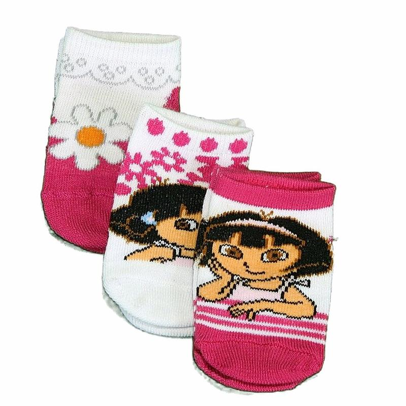 Image of Nick Jr. Dora The Explorer Infant Girl's 3 Pair Assorted Safety Socks - Pink - 0 12 Months