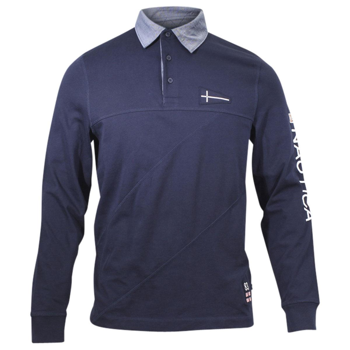 Nautica Mens Slim Fit Long Sleeve Cotton Rugby Polo Shirt