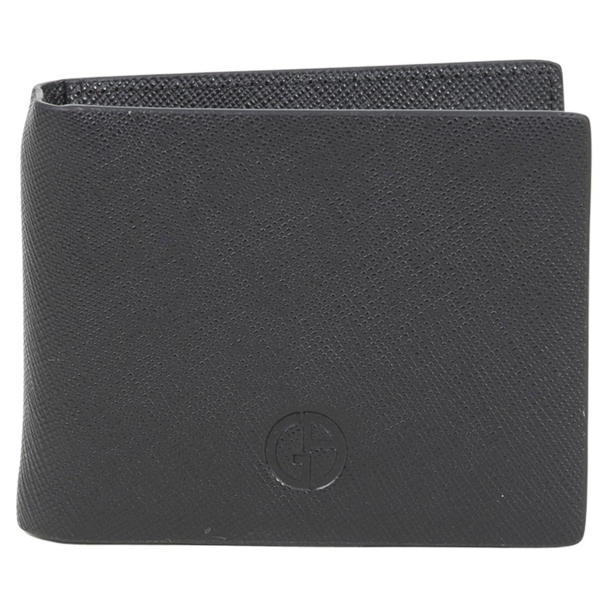 Image of Giorgio Armani Men's Genuine Saffiano Leather Bi Fold Money Clip Wallet - Black