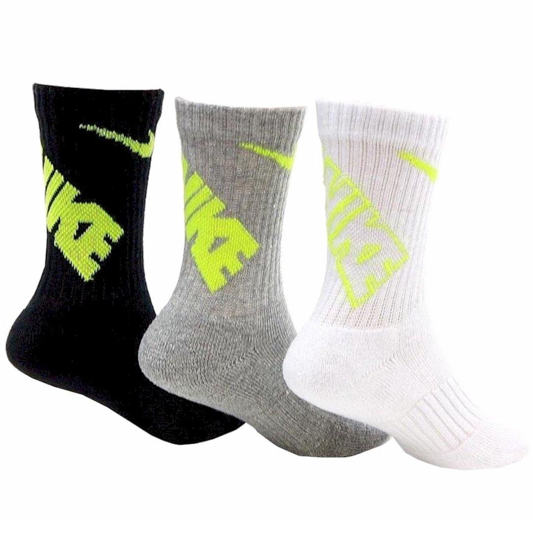 Nike Little Boy's 3-Pairs Graphic Performance Crew Socks UPC: