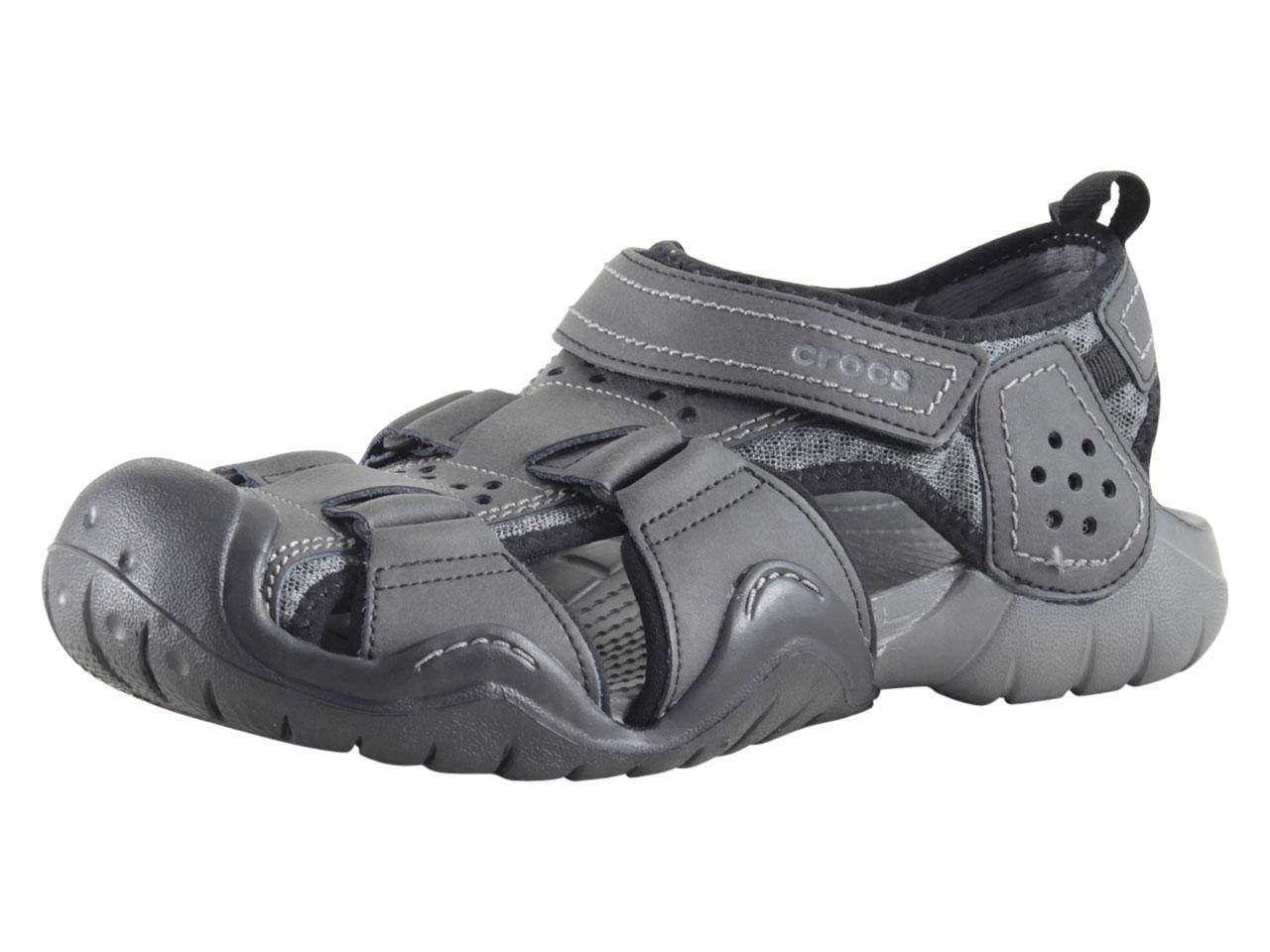 89ce648f6005 Crocs Men s Swiftwater Leather Black Graphite Fisherman Sandals ...