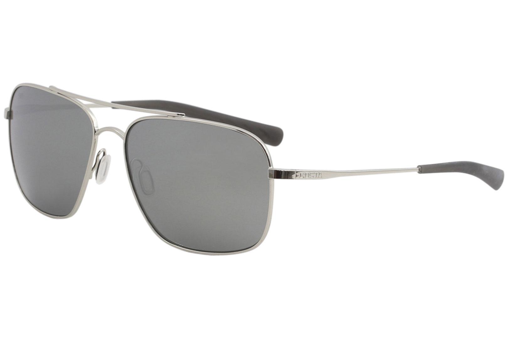 Men's  Fashion Pilot Polarized Titanium Sunglasses - Shiny Palladium/Polarized Grey Silver Mirror - Lens 59 Bridge 16 Temple 135mm - Costa Del Mar Canaveral