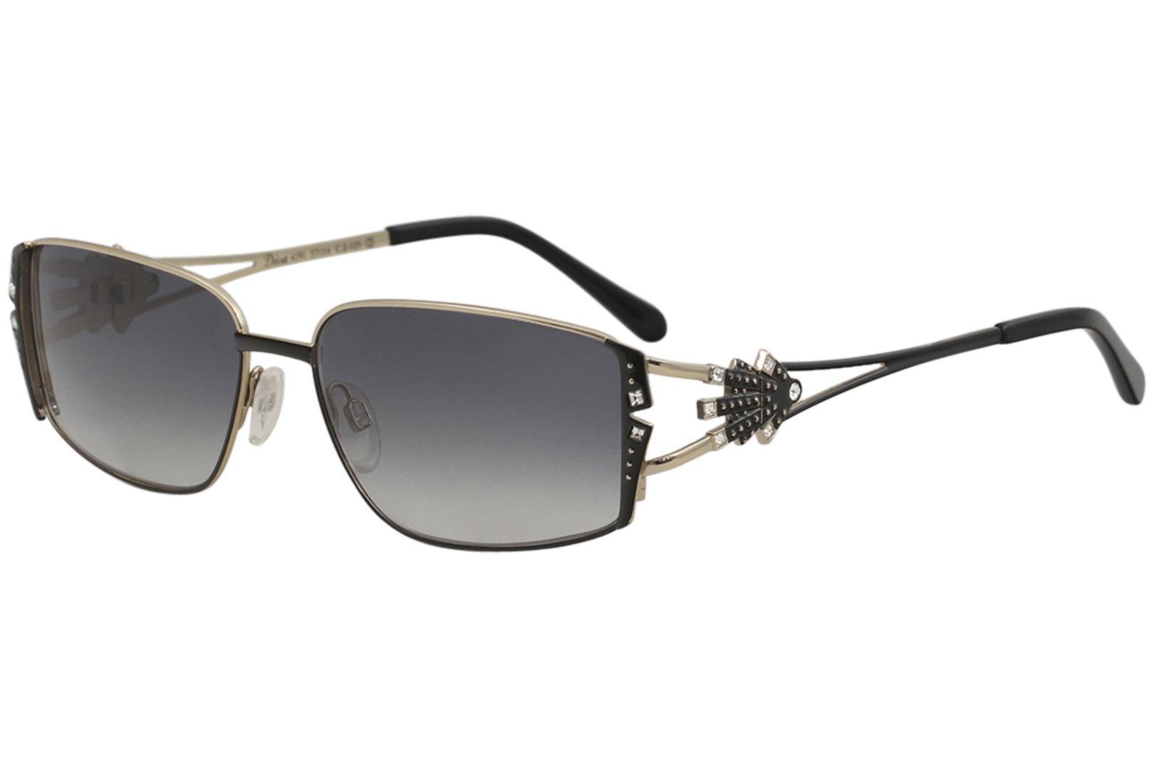 Image of Diva Women's 4191 Fashion Rectangle Sunglasses - Black Gold/Grey Gradient   02 - Lens 57 Bridge 16 Temple 125mm