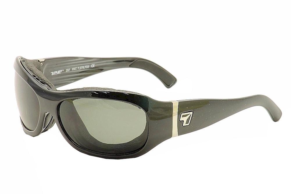 Image of 7Eye Men's Airshield Briza Wrap Sport Sunglasses - Glossy Black/Grey Polarized