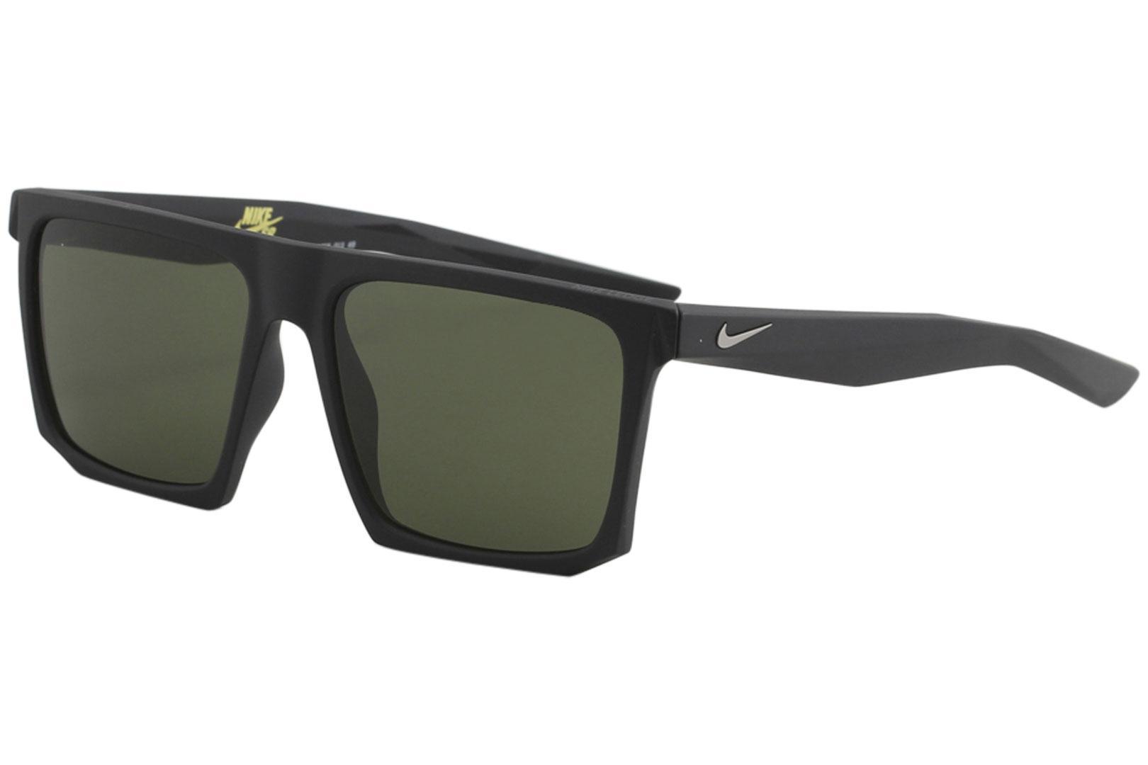 Image of Nike SB Men's Ledge EV1058 EV/1058 Sport Square Sunglasses - Matte Black Gunmetal/Green   013 - Lens 56 Bridge 16 Temple 145mm