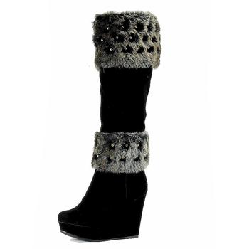 Nancy Li Women's Fashion Fur Trimmed Knee High Boots BC1065 Shoes UPC: