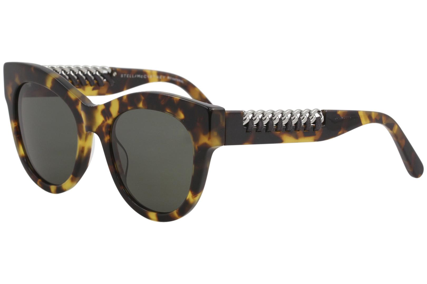 Image of Stella McCartney SC0064S SC/0064/S Havana/Ruthenium Cat Eye Sunglasses 51mm - Havana Ruthenium/Green   003 - Lens 51 Bridge 21 Temple 140mm