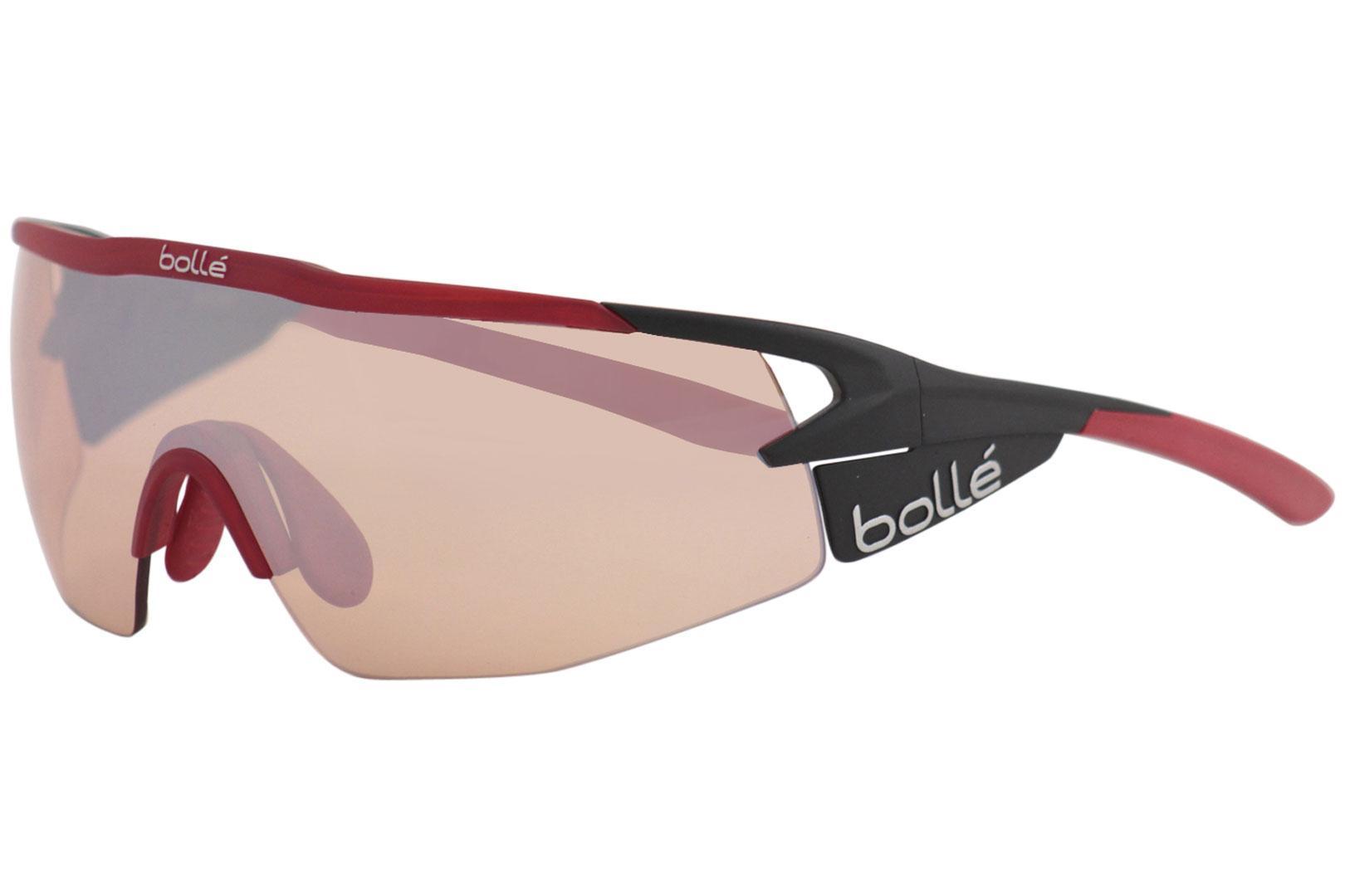 8a9f46b811e0d Bolle Men s Aeromax 12268 Matte Black Red Sport Shield Wrap ...