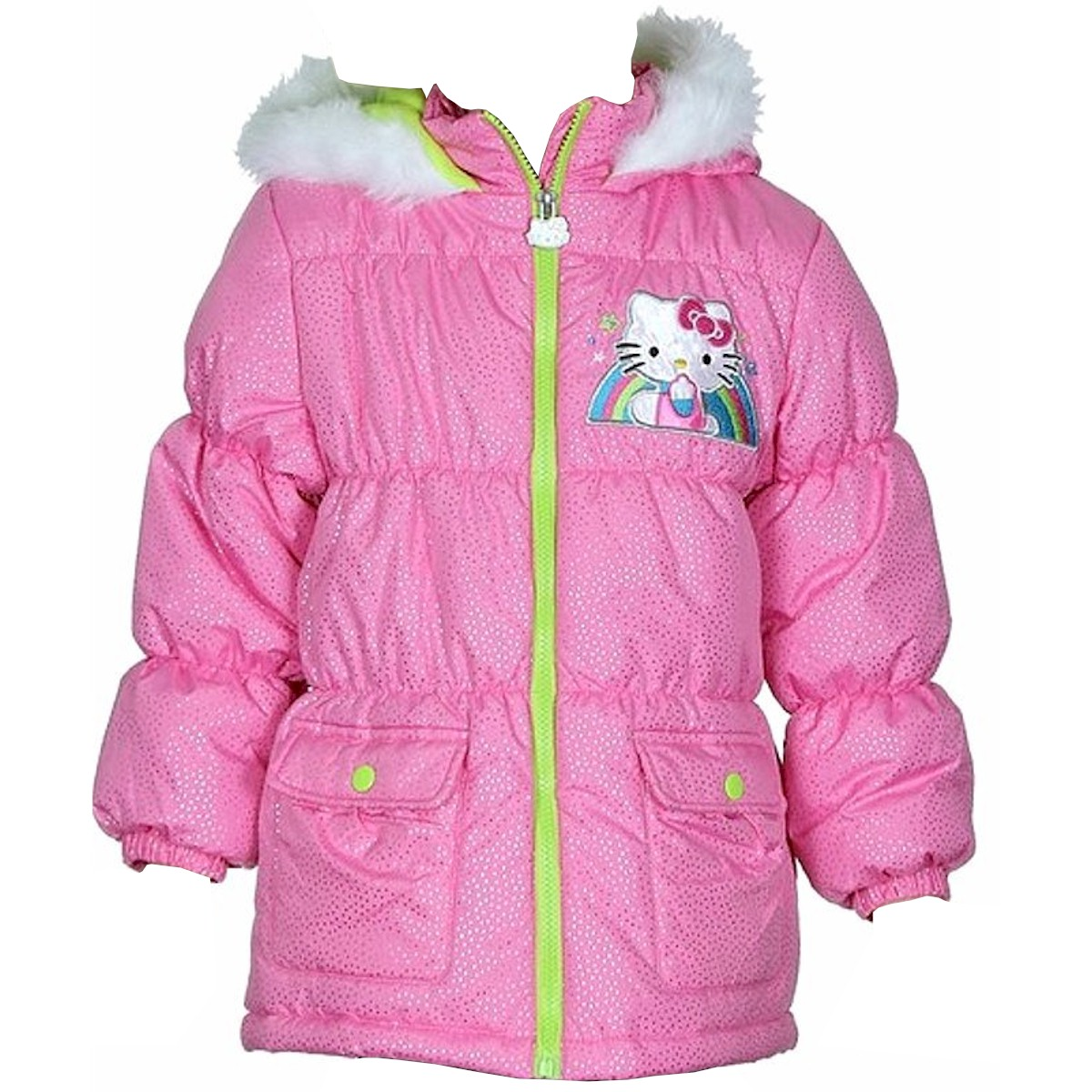 Image of Hello Kitty Infant/Toddler Girl's HK036 Puffer Hooded Winter Jacket - Pink - 2T
