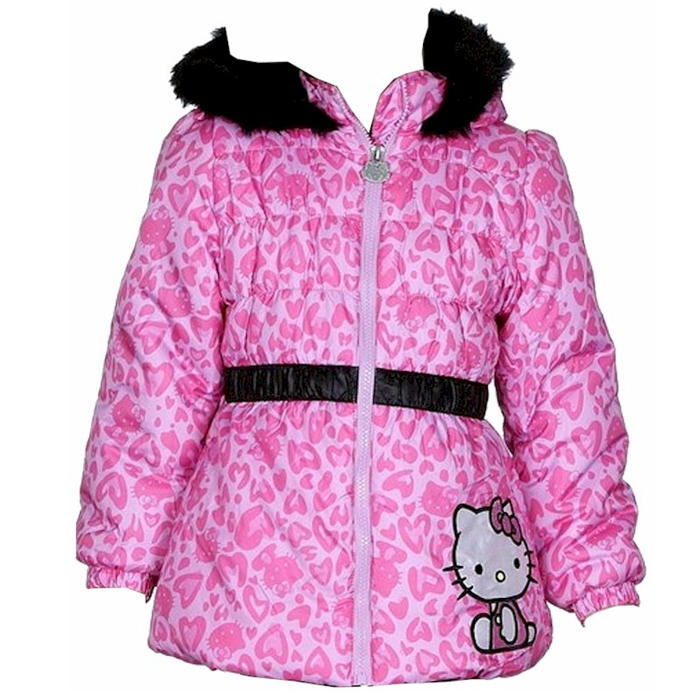 Image of Hello Kitty Infant/Toddler Girl's Puffer Fleece Lined Winter Jacket - Pink - 2T