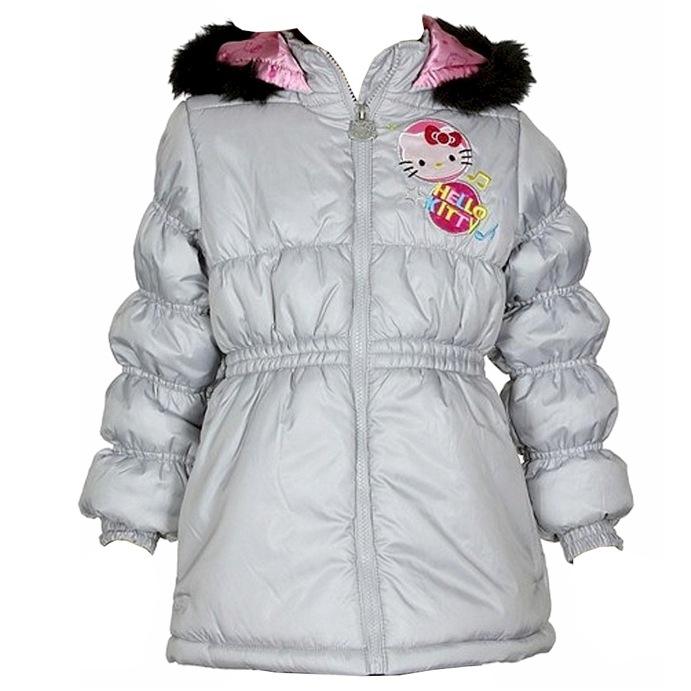 Image of Hello Kitty Infant/Toddler Girl's HK031 Puffer Hooded Winter Jacket - Grey - 2T