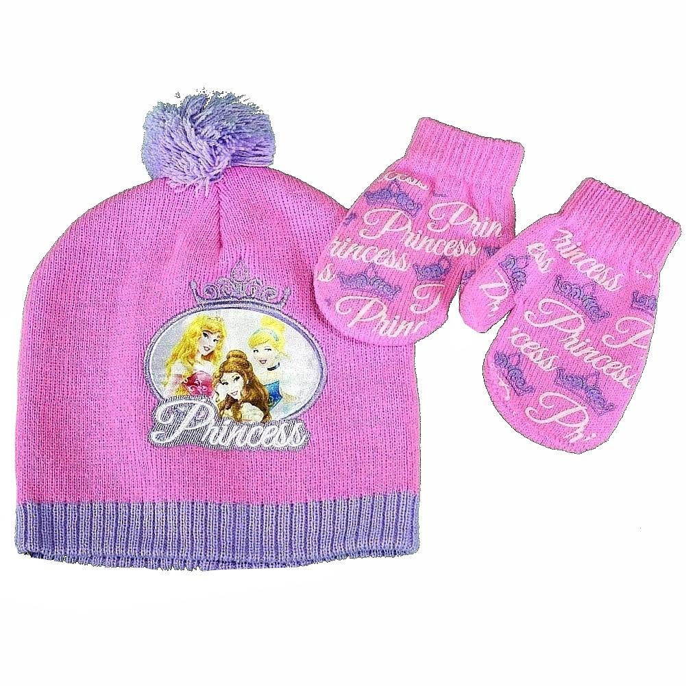 Image of Disney Princess Toddler Girl's Hat & Mittens Set Sz. 2 4 - Pink - Toddler, Ages 2 4