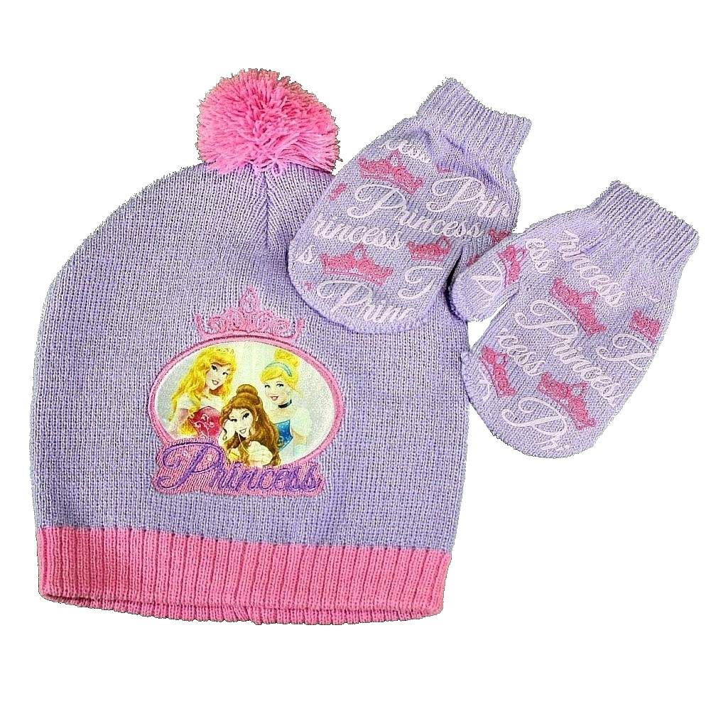 Image of Disney Princess Toddler Girl's Hat & Mittens Set Sz. 2 4 - Purple - Toddler, Ages 2 4