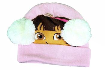 Dora The Explorer Toddler Girl's Winter Hat & Mittens Set Sz. 2-4T
