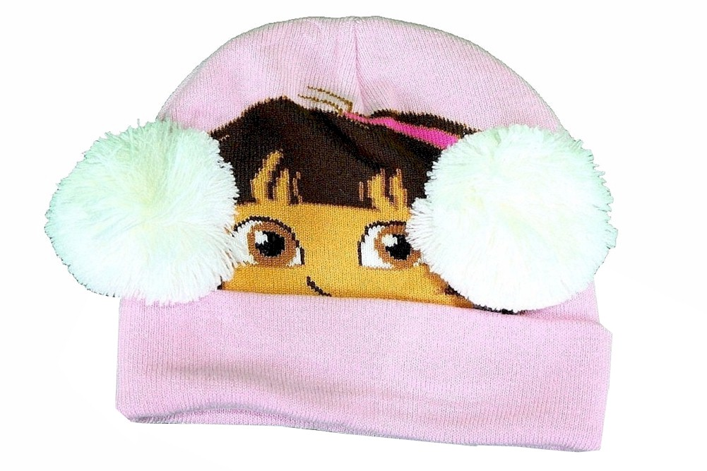 Image of Dora The Explorer Toddler Girl's Winter Hat & Mittens Set Sz. 2 4T - Pink - Toddler, Ages 2 4