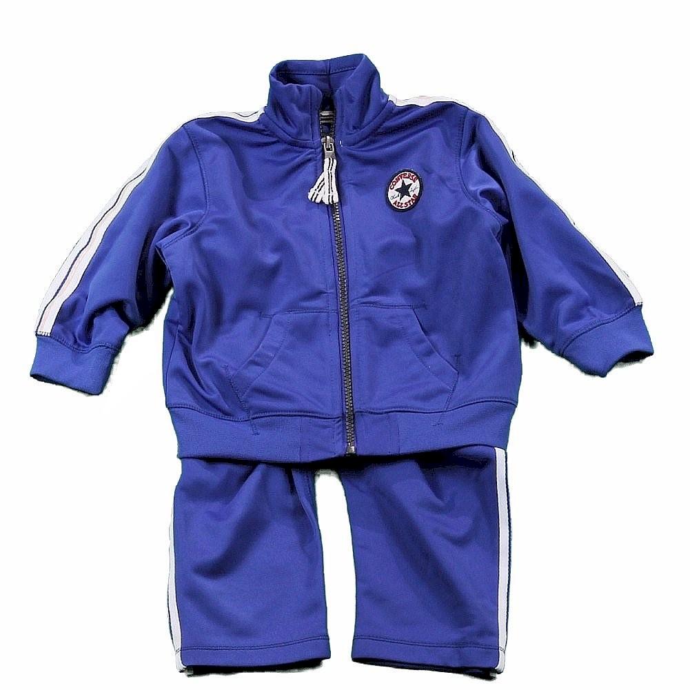 Image of Converse Infant/Toddler Boy's Track Pant & Jacket 2 Piece Set - Blue - 12 Months
