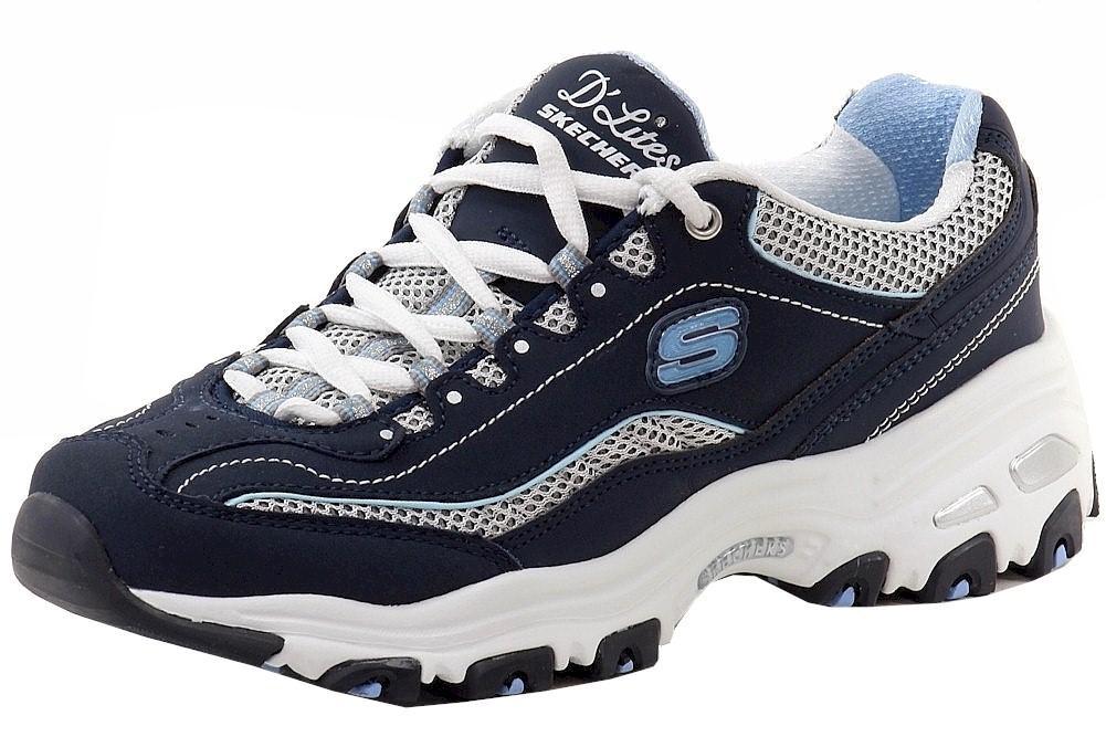 Details about Skechers Women's D'Lites Life Saver Memory Foam NavyWhiteBlue Sneakers Shoes