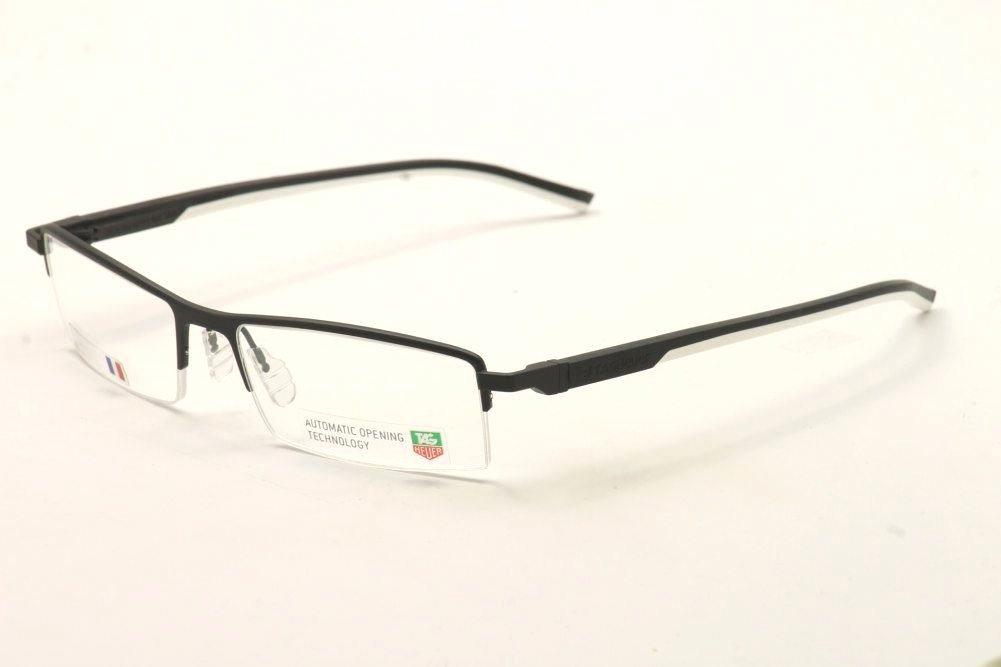 Image of Tag Heuer Eyeglasses TH0821 TH/0821 TagHeuer Semi Rim Optical Frame - Black/White 011 - Lens 56 Bridge 18 Temple 142mm