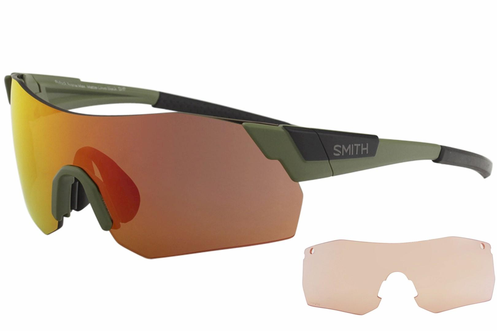 Image of Smith Optics Pivalock Arena Max X6 Fashion Shield Sunglasses - Matte Olive Black/Red Mirrored - Lens 130 Bridge 0 Temple 120mm